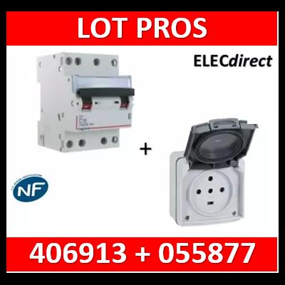 Legrand Plexo - Prise de courant 3P+N+T 32A - saillie - IP44/IK08 + Disjoncteur 32A 3P+N courbe C - 055877+406913
