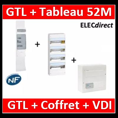 Legrand - Kit GTL 13M complet + tableau 52M + VDI 4RJ45 Hager - 030037+401214+TN305