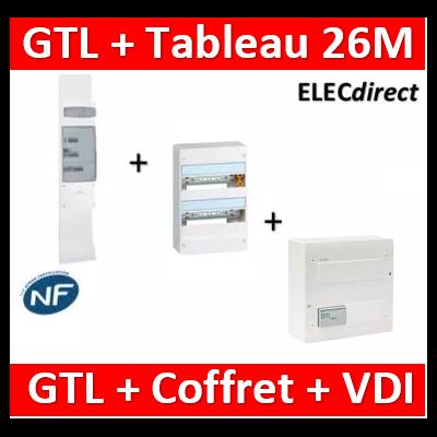 Legrand - Kit GTL 13M complet + tableau 26M + VDI 4RJ45 Hager - 030037+401212+TN305