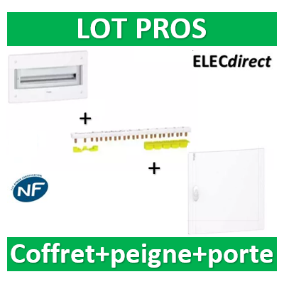 Schneider - Coffret électrique PRAGMA - encastré - 2R de 18M + peigne 18M + porte - PRA32118+R9PXH218+PRA16118