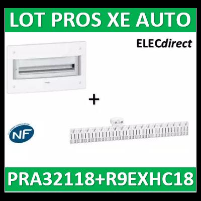 Schneider - Coffret électrique PRAGMA - encastré - 2R de 18M + peigne 18M AUTO - PRA32118+R9EXHC18