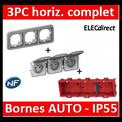 Legrand Plexo - Triple PC - complet - horizontal - IP55/IK07 - 069687+069564+080143