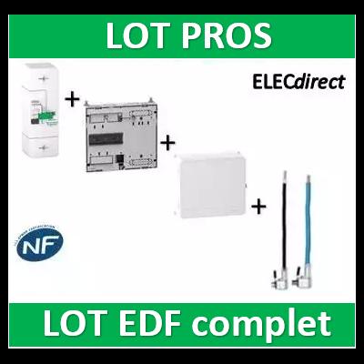 Schneider - LOT EDF - Disjoncteur EDF 45A sélectif + platine + habillage + porte + Embouts PH+N 60A