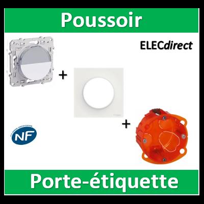 Schneider Odace - Poussoir Porte Etiquette + boîte Legrand - S520266+S520702+080101