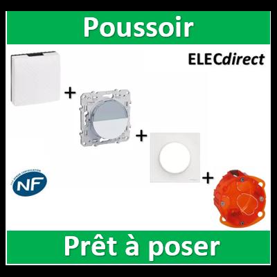 Schneider Odace - Poussoir Porte Etiquette + Carillon avec transfo. Legrand + boîte - S520266+S520702+041652+080101