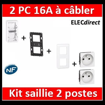 Legrand Mosaic - Kit Cadre saillie 2 postes - 3x2M - vertical + 2 PC 16A
