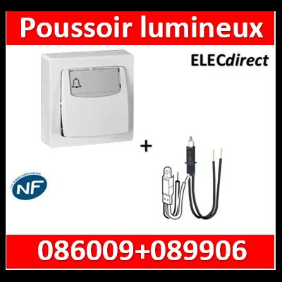 Legrand Oteo - Poussoir porte-étiquette 6A - 230V + voyant - lumineux - 086009+089906
