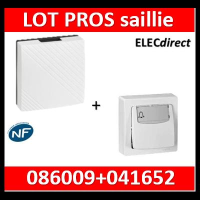 Legrand Oteo - Poussoir porte-étiquette 6A - 230V + carillon  avec transfo. - 086009+041652