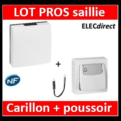 Legrand Oteo - Poussoir porte-étiquette 6A - 230V + carillon avec transfo. - lumineux - 086009+041652+089906