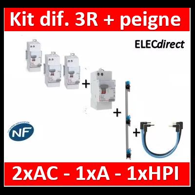 LEGRAND - Kit 3R 2 dif AC - 1 A 63A - 1 HPI 40A AUTO + peigne vertical + cordons - 411650x2+411651+411644+405001+404903