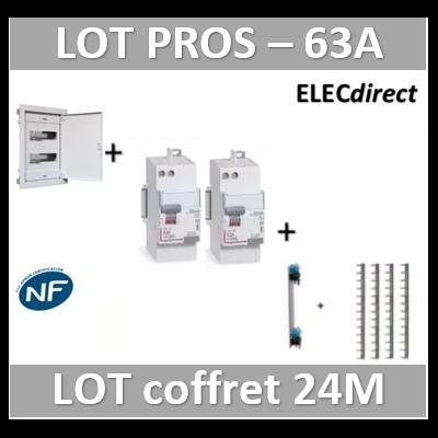 Digital electric + Legrand - coffret 24M encastré + dif. 63A AC + dif. 63A A VIS + peignes Legrand