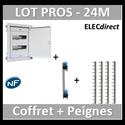 Digital electric - Coffret encastré - IP40 porte métal extra plate - 2R - 24 mod peignes Legrand - 07434+405000+404926x4