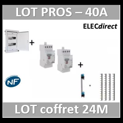 Digital electric + Legrand - coffret 24M encastré + dif. 40A AC + dif. 40A A VIS + peignes Legrand
