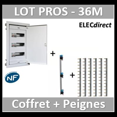Digital electric - Coffret encastré - IP40 porte métal extra plate - 3R - 36 mod peignes Legrand - 07436+405001+404926x6