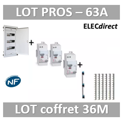 Digital electric + Legrand - coffret 36M encastré + dif. 63A AC + dif. 63A A VIS + peignes Legrand