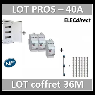 Digital electric + Legrand - coffret 36M encastré + dif. 40A AC + dif. 40A A VIS + peignes Legrand