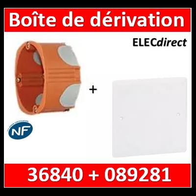 Legrand Batibox - Boîte encastrée BBC P40 SIB + Couvercle universel 80 x 80 = boîte de dérivation - P36840+089281
