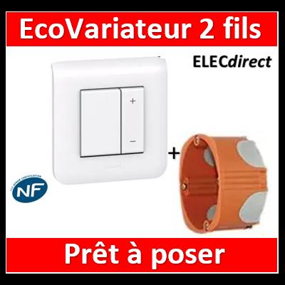Legrand Mosaic - Interrupteur variateur ECOvariateur 2 fils 400W + boîte SIB - 078407+080251+078802+P36840