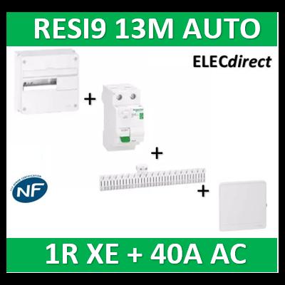 Schneider - Resi9 13M - 1R + peignes AUTO XE + Dif. 40A AC 30mA + porte - R9H13401+R9ERC240+R9EXHC13+R9H13421