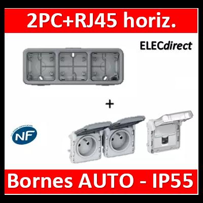 Legrand Plexo - 2PC + PC RJ45 - horizontal - IP55/IK07 - 069680+069562+069569