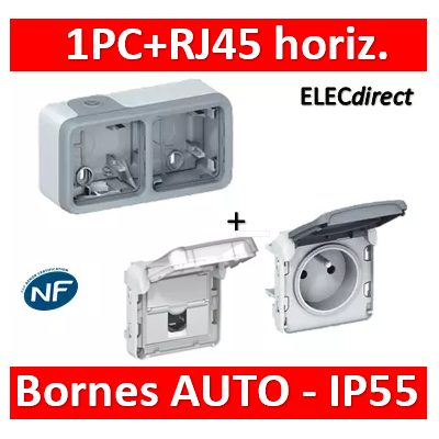 Legrand Plexo - PC 2P+T 16A 230V + RJ45 - horizontal - IP55/IK07 - 069672+069551+069569