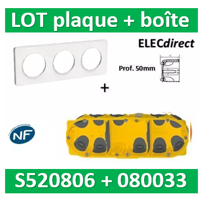 Schneider Odace - Plaque 3 postes + Boîte Batibox BBC Legrand 3 postes - Hor/vert - s520806+080033