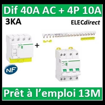 Schneider - dif. DX3-ID 4P 40A - 30mA - AC + Peigne 13M + Disj. 4P 10A - R9PRC440+RPFC710+R9PXH413