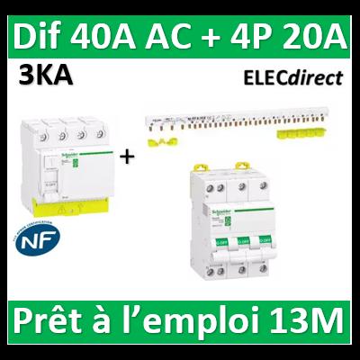 Schneider - dif. DX3-ID 4P 40A - 30mA - AC + Peigne 13M + Disj. 4P 20A - R9PRC440+RPFC720+R9PXH413