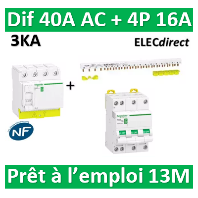Schneider - dif. DX3-ID 4P 40A - 30mA - AC + Peigne 13M + Disj. 4P 16A - R9PRC440+RPFC716+R9PXH413