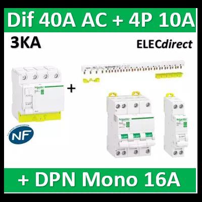 Schneider - dif. DX3-ID 4P 40A - 30mA - AC + Peigne 13M + Disj. 4P 20A + DPN 16A - R9PRC440+RPFC720+R9PXH413+R9PFC616