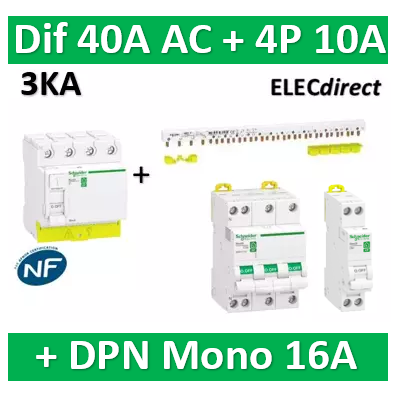 Schneider - dif. DX3-ID 4P 40A - 30mA - AC + Peigne 13M + Disj. 4P 10A + DPN 16A - R9PRC440+RPFC710+R9PXH413+R9PFC610