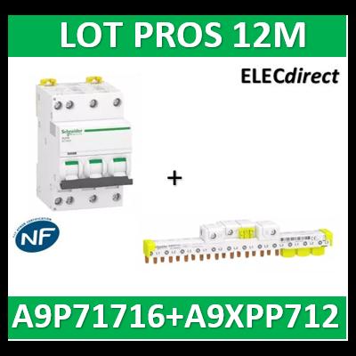 Schneider - Acti9 IDT40K - disjoncteur modulaire - 3p+n - 16A - C - + peigne 12M 4500A/4,5KA - A9P71716+A9XPP712