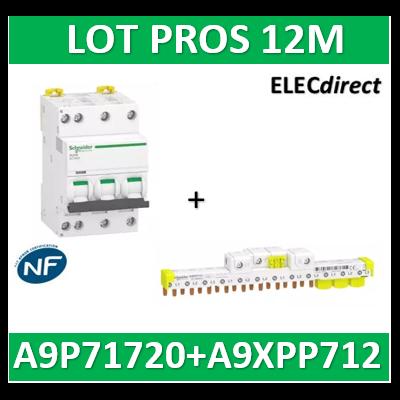 Schneider - Acti9 IDT40K - disjoncteur modulaire - 3p+n - 20A - C - + peigne 12M 4500A/4,5KA - A9P71720+A9XPP712