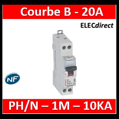 Disjoncteur DX³6000 10kA arrivée haute et départ bas à vis U+N 230V~ - 20A - courbe B - 1 module - 407456