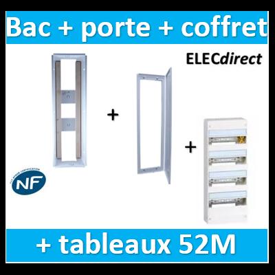 SIB - Bac métal 1 travée 13 - coffret 4R + platine + coffret com. + porte + Legrand coffret 52M - P06464+P06114+401214