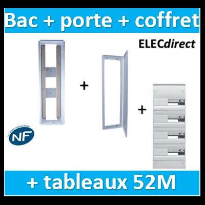 SIB - Bac métal 1 travée 13 - coffret 4R + platine + coffret com. + porte + Hager coffret 52M - P06464+P06114+GD413A