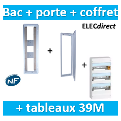 SIB - Bac métal 1 travée 13 - coffret 3R + platine + coffret com. + porte + Legrand coffret 39M - P06463+P06113+401213