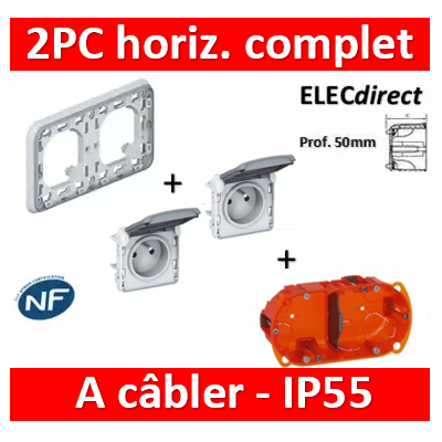 Legrand Plexo - Double PC à câbler - complet - horizontal - IP55/IK07 - 069683+069551x2+080122