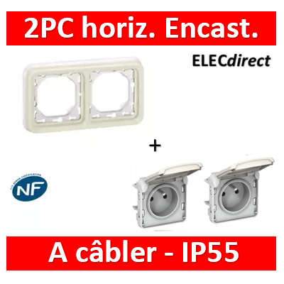 Legrand Plexo - Prises 2x2P+T horizontal précâblées Plexo encastré blanc - 16 A - 250 V - 069621x2+069694