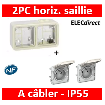 Legrand Plexo - Double prise de courant 2P+T 16A 230V horizontal - IP55/IK07 - blanc - 069621x2+069690