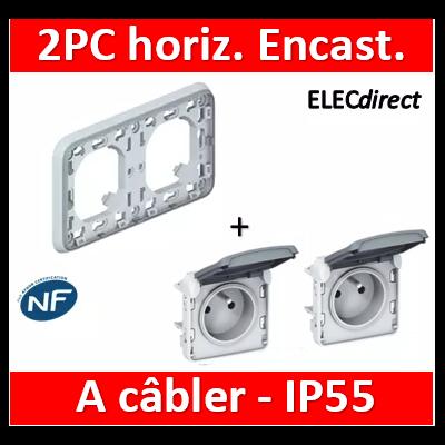 Legrand Plexo - Double PC 2P+T 16A 230V encast. - horizontal - IP55/IK07 - 069683+069551x2