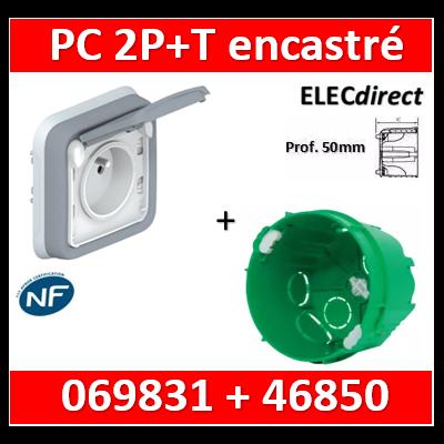Legrand Plexo - Prise de courant encastré + boîte SIB - Prof. 50mm - IP55/IK07 - 069831+46850
