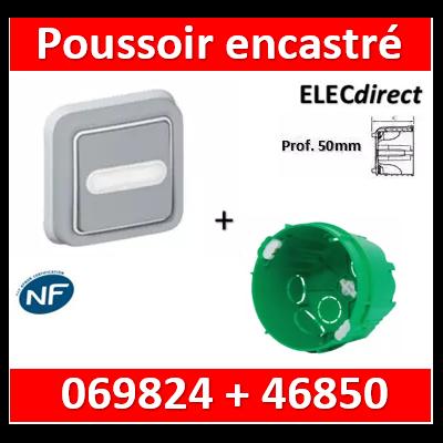 Legrand Plexo - Poussoir plexo sonnerie porte étiquette encastré + boîte SIB - IP55/IK07 - 069824+46850