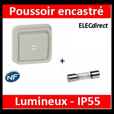 Legrand Plexo - Poussoir NO + NF lumineux Prog Plexo complet encastré blanc - 10A - 069861