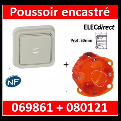 Legrand Plexo - Poussoir NO + NF lumineux Prog Plexo complet encastré blanc + boîte - 10A - 069861+080121