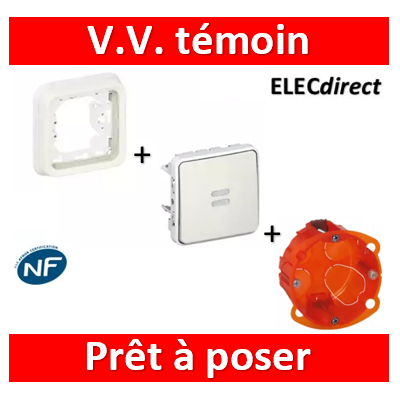 Legrand Plexo - Encastré VV Témoin Blanc + boîte batibox - 069612+069692+080101