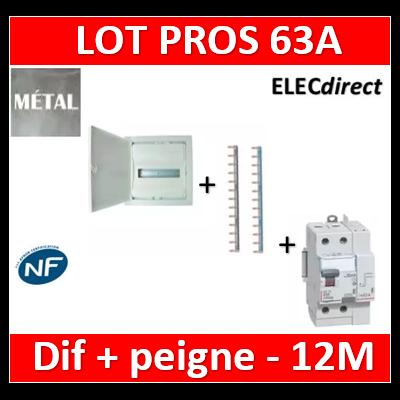 Legrand - Coffret encastré - porte métal - 1R - 12+2 mod + Peignes Ph+N + dif 63A AC 30ma - 001531+404926x2+411633