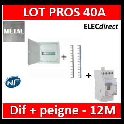 Legrand - Coffret encastré - porte métal - 1R - 12+2 mod + Peignes Ph+N + dif 40A AC 30ma - 001531+404926x2+411611