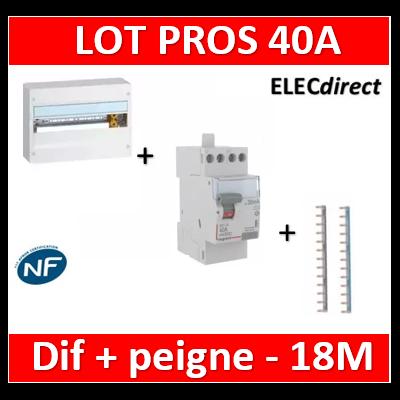 Legrand - LOT PROS - Coffret DRIVIA 18M + dif 40A AC 30mA + peignes - 401221+411611+404928x2