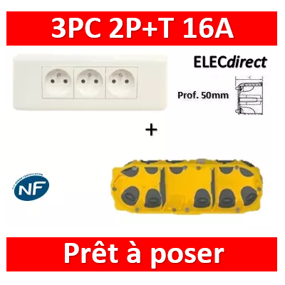 Legrand Mosaic - Prêt à poser - 3 Prises 2P+T 16A complet + boîte batibox 3 postes BB